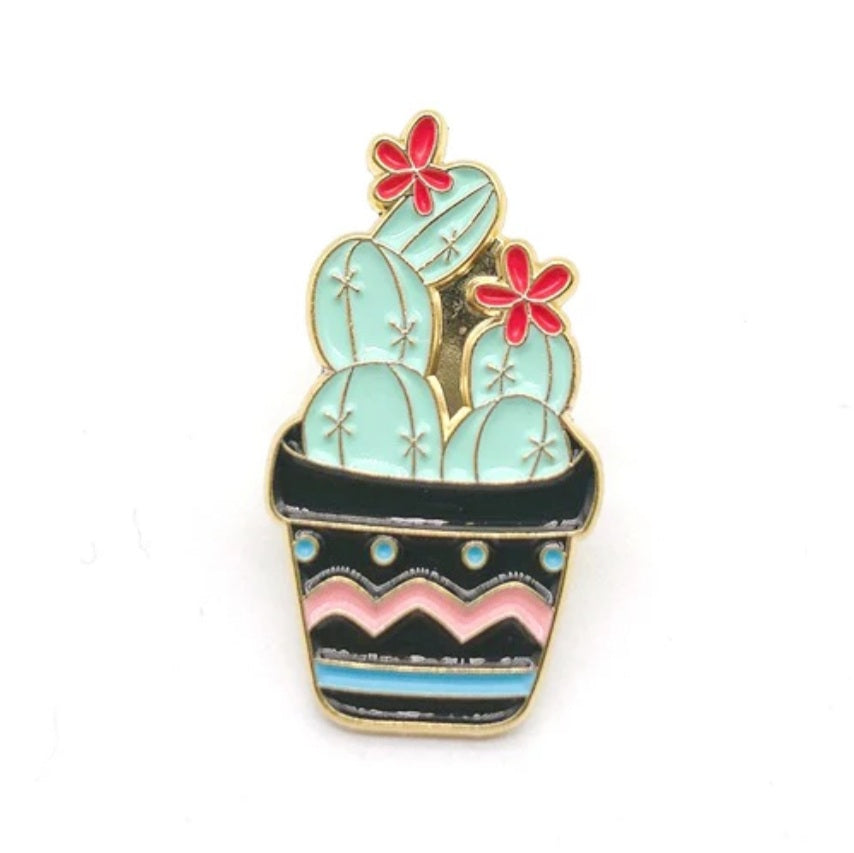 Cactus in Black Pot Enamel Pin
