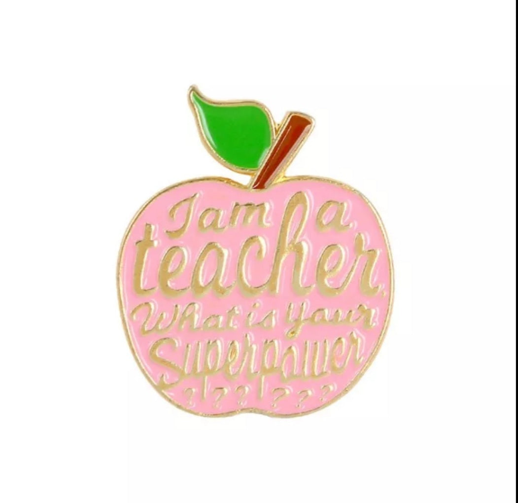 Pink Teacher Apple Enamel Pin
