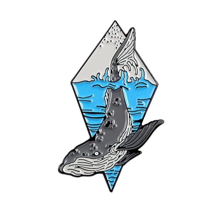 Diving Whale Enamel Pin