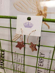 Copper Acrylic Star Earrings