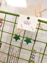 Load image into Gallery viewer, Green Acrylic Star Earrings