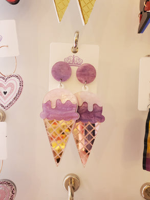 Acrylic Ice Cream Cone Earrings