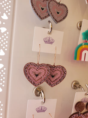 Rose Gold Acrylic Hoop Heart Earrings