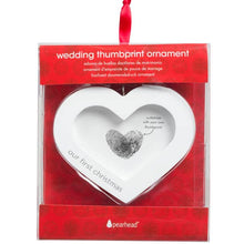 Load image into Gallery viewer, Our First Christmas Thumbprint Heart Wedding Ornament