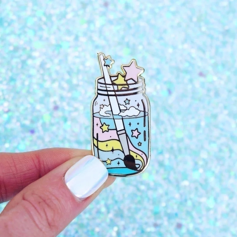 Watercolor Jar Enamel Pin