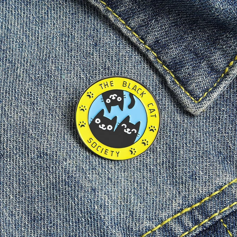 Black Cat Society Enamel Pin
