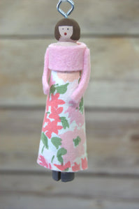Repurposed Linens Clothespin Doll Ornament