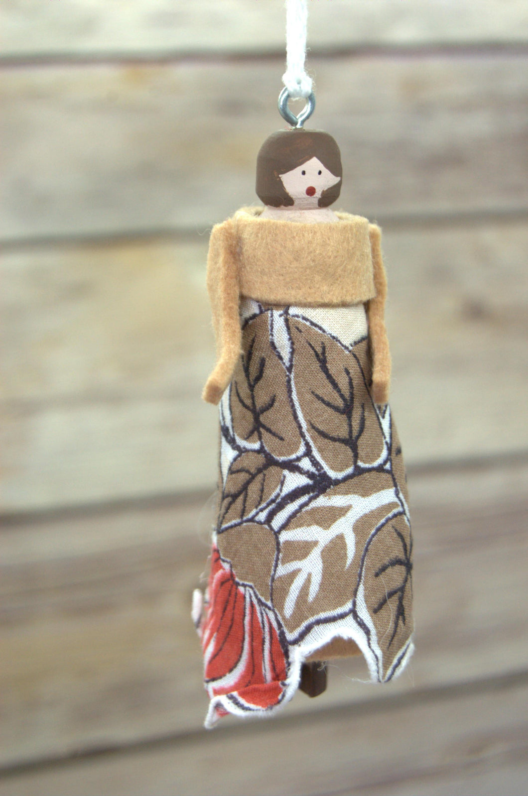 Repurposed Handkerchief Clothespin Doll Ornament