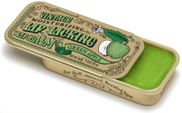 Green Apple Retro Lip Licking Balm Slider Tin