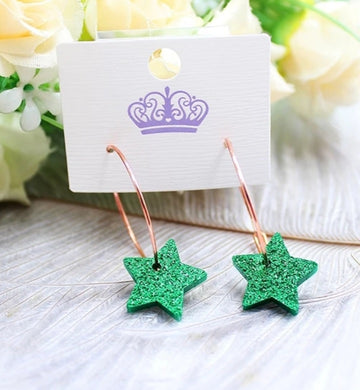 Green Acrylic Star Earrings