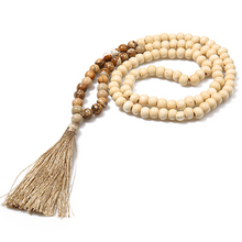 Load image into Gallery viewer, Stone & Wood Beaded Tassel Necklace - Time & Again Shop