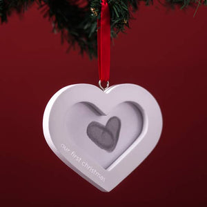 Our First Christmas Thumbprint Heart Wedding Ornament