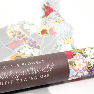 Scratch Your Travels Official State Flowers USA Map - Silver