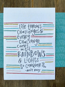 Life Throws Challenges Amir Ray Quote 5x7 Print