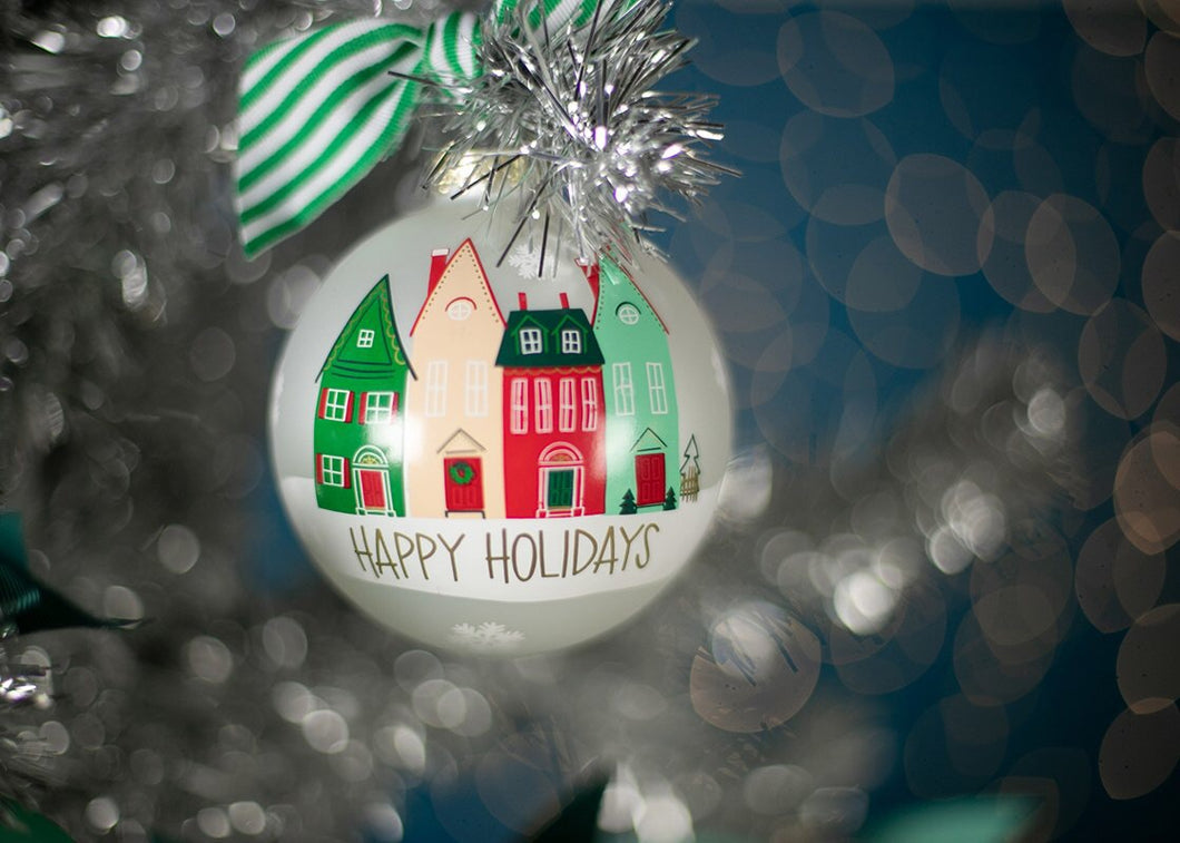 Happy Holidays Village Christmas Ornament