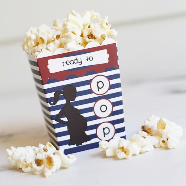Ready to Pop® Baby Shower Popcorn Favor Box - Baby Boy Blue Stripe