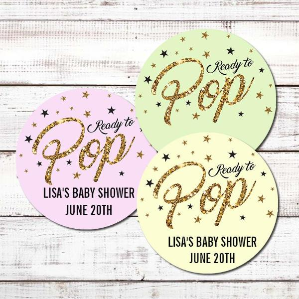 Ready To Pop® Gold Glitter Personalized Round Sticker Label
