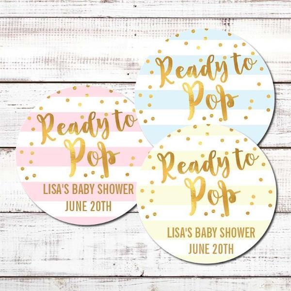 Ready To Pop® Faux Gold Stripes Personalized Round Sticker Label