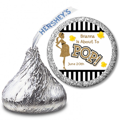Ready To Pop Gold Glitter Black Stripe Personalized Hershey Kiss Stickers