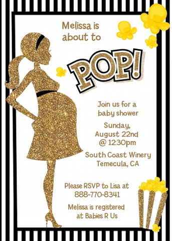 Ready To Pop Gold Glitter Black Stripes - Printed Baby Shower Invitation