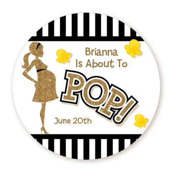 Ready To Pop® Gold Glitter Black Stripe Personalized Round Sticker Label