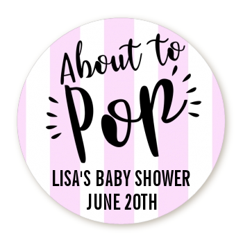 About To Pop® Lavender Stripes Personalized Round Sticker Label
