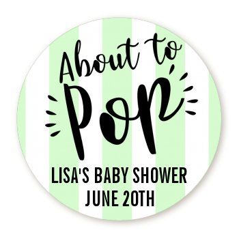 About To Pop® Mint Stripes Personalized Round Sticker Label