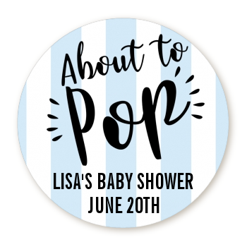 About To Pop® Blue Stripes Personalized Round Sticker Label