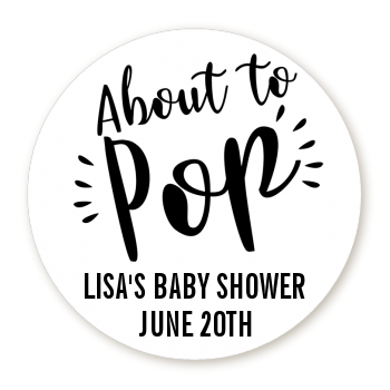 About To Pop It S A Baby Stripes Personalized Round Sticker