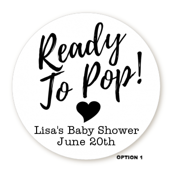 Ready To Pop® Black/White Personalized Round Sticker Label
