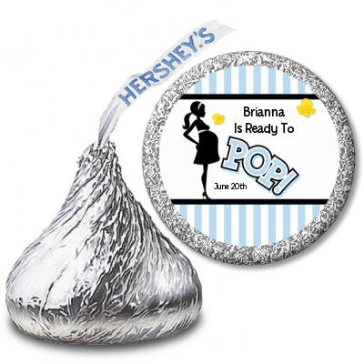 Ready To Pop Blue Stripe Personalized Hershey Kiss Stickers