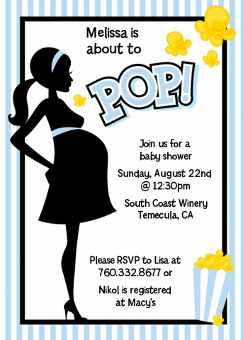 Ready To Pop Blue Stripes - Printed Baby Shower Invitation