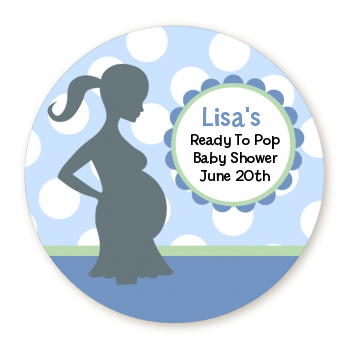 Ready To Pop It's A Boy Baby Blue - Personalized Round Sticker Label