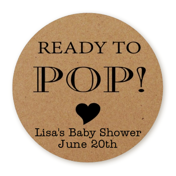 Ready To Pop® Kraft Brown Personalized Round Sticker Label