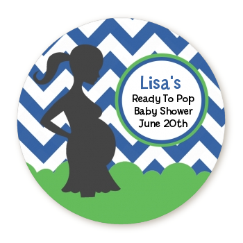 Ready To Pop Chevron Green Blue - Personalized Round Sticker Label