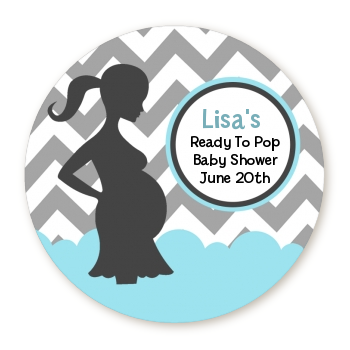 Ready To Pop Chevron Grey Aqua Personalized Round Sticker Label