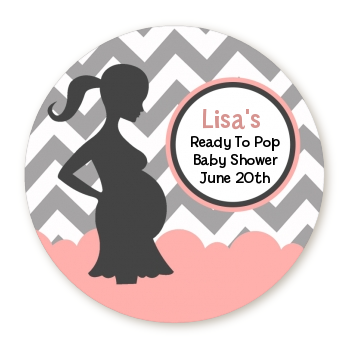 Ready To Pop® Chevron Grey Pink - Personalized Round Sticker Label