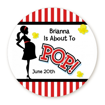 Ready To Pop Red Stripe Personalized Round Sticker Label