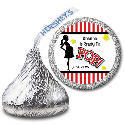 Ready To Pop Red Stripe Personalized Hershey Kiss Stickers