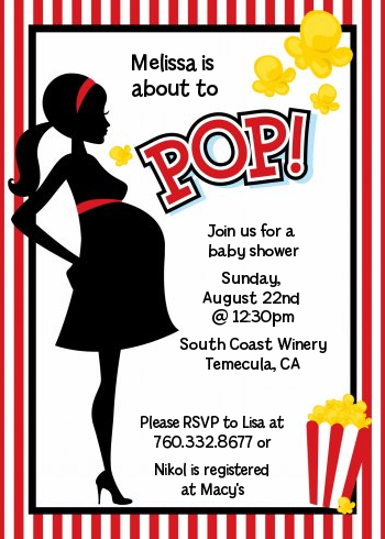 Ready To Pop Red Stripes - Printed Baby Shower Invitation