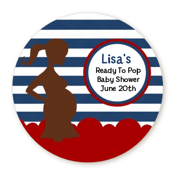 Ready To Pop Baby Boy Blue Stripe - Personalized Round Sticker Label