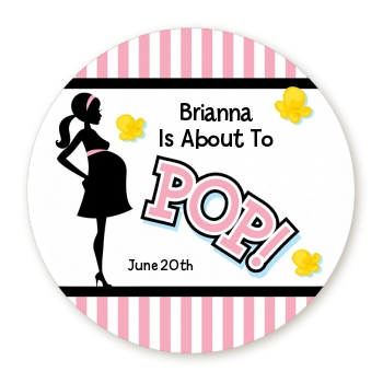 Ready To Pop Pink Stripe Personalized Round Sticker Label
