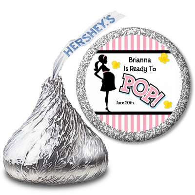 Ready To Pop® Pink Stripe Personalized Hershey Kiss Stickers