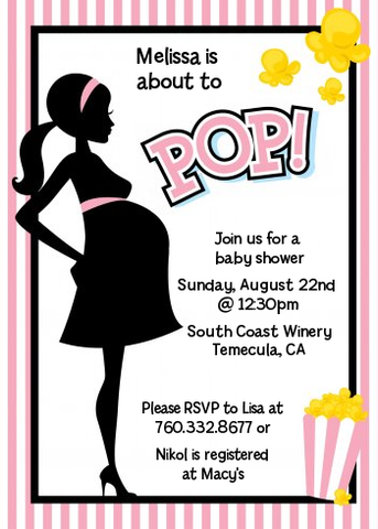 Ready To Pop Pink Stripes - Printed Baby Shower Invitation