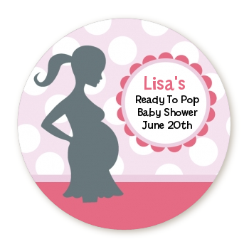 Ready To Pop It's A Girl Baby Pink - Personalized Round Sticker Label