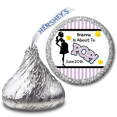 Ready To Pop Purple Stripe Personalized Hershey Kiss Stickers