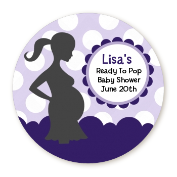 Ready To Pop® Purple Polka Dots - Personalized Round Sticker Label