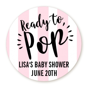 Ready To Pop® Pink Stripes Personalized Round Sticker Label