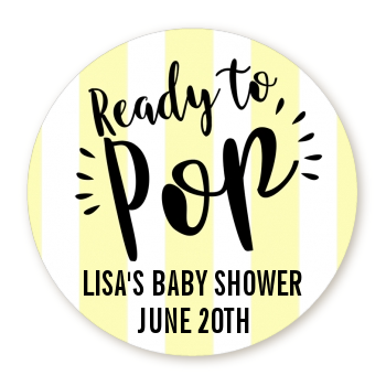 Ready To Pop® Yellow Stripes Personalized Round Sticker Label