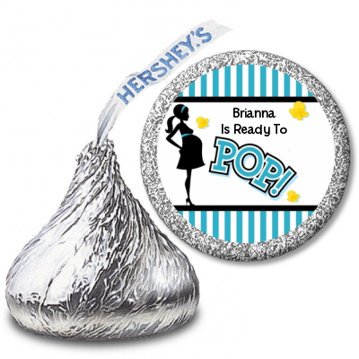 Ready To Pop Teal Stripe Personalized Hershey Kiss Stickers